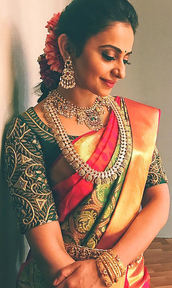 Rakul Preet Beautiful bride in Green and red saree