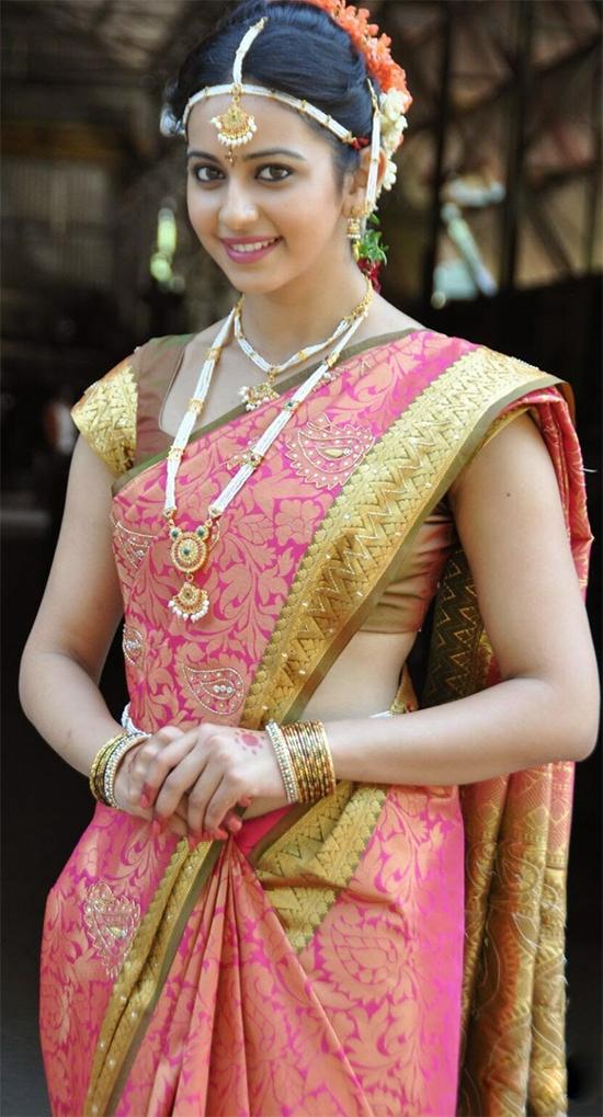 Rakul Preet In Pink Kanjivaram Saree