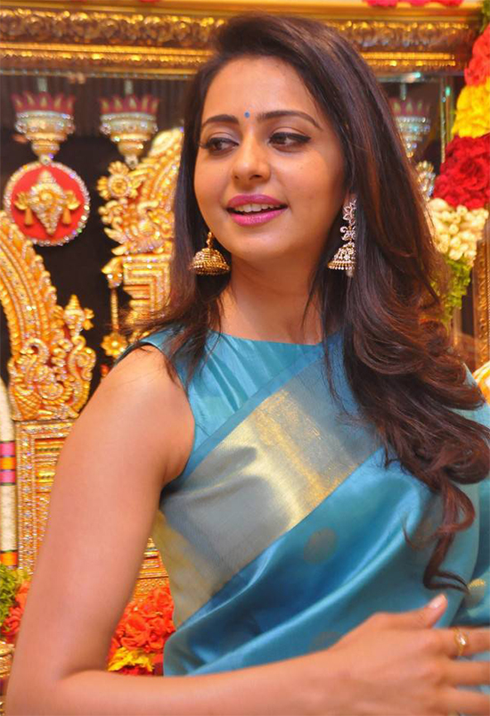 Rakul Preet in Blue Traditional Saree