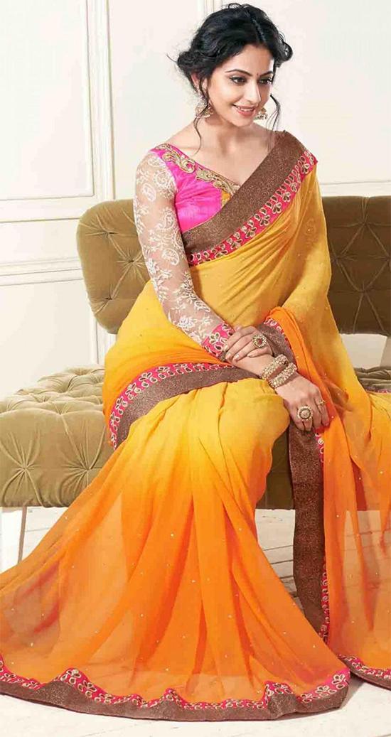 Rakul Preet in Orange Chiffon Saree
