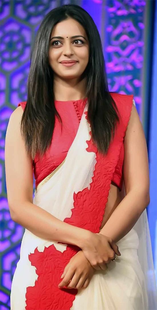 Rakul Preet in white Cute Saree