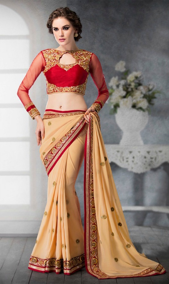 64c9c441e5 Red & Cream Georgette Silk Saree With Embroidered Full Net Sleeves: