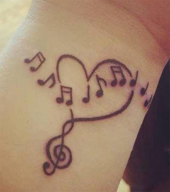 Attractive Musical Love Tattoo