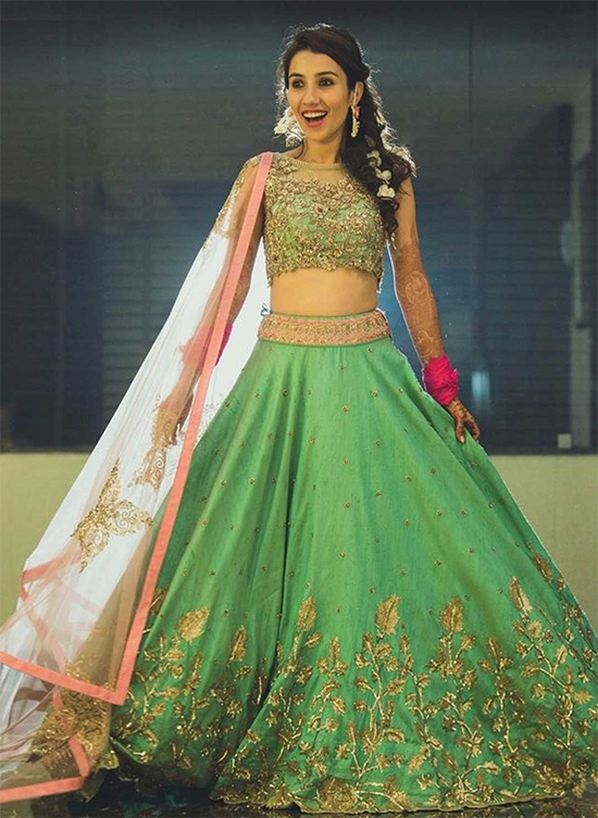 Banglori Silk & Net Party Wear Lehenga Choli In Green Colour With Boat Neck Blouse
