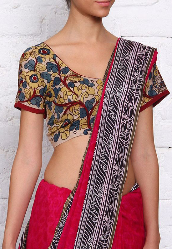 613204f15147e Stylish and Simple Neck Blouse Designs For Cotton Sarees