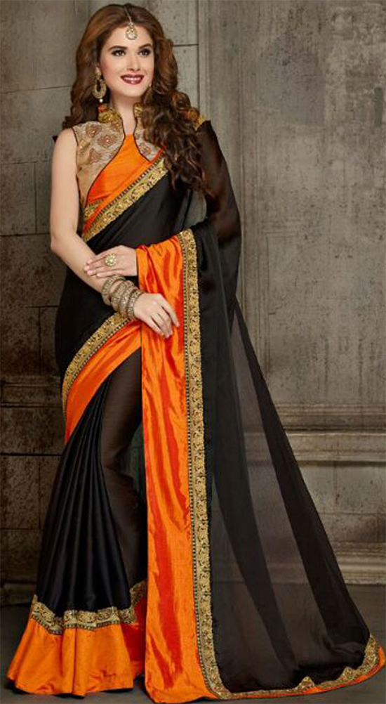 9aca189c34a005 Black Orange Embroidery Work Satin Chiffon Designer Sarees With Collar Neck  Blouse  ...