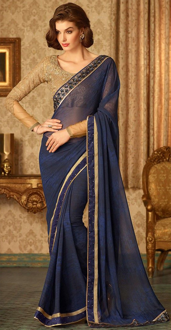 Blue Georgette Fancy Saree Embellished With Crystal Stones & Lace Work