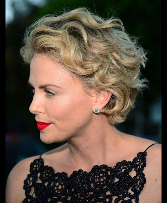 Charlize Theron Short Curly Hairstyle