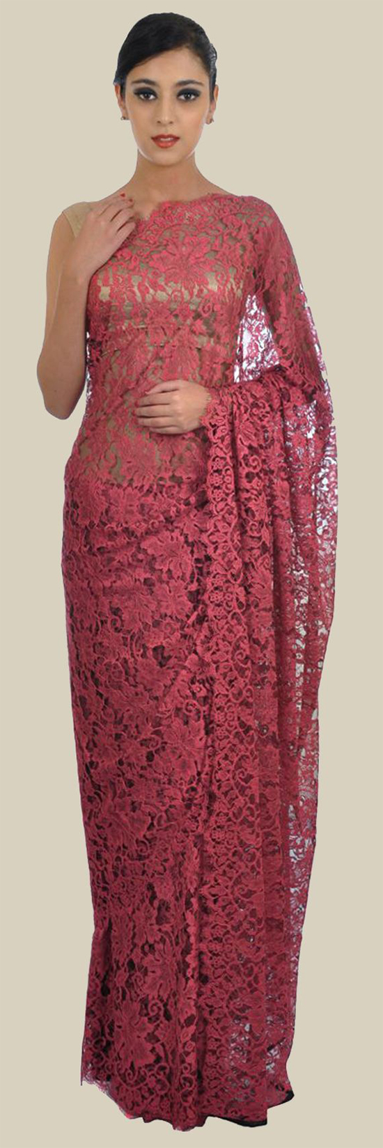 Top 20 trending chantilly lace saree designer collections cherry red french chantilly lace saree with crepe tissue blouse aloadofball Gallery