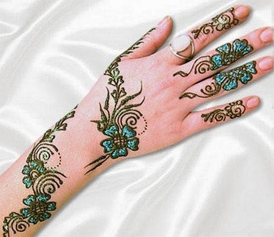 Colored Back Hand Mehandi Designs