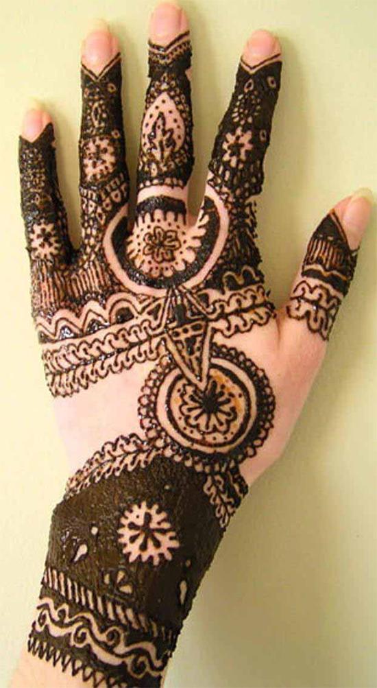 Dark Mehendi Design For Hand