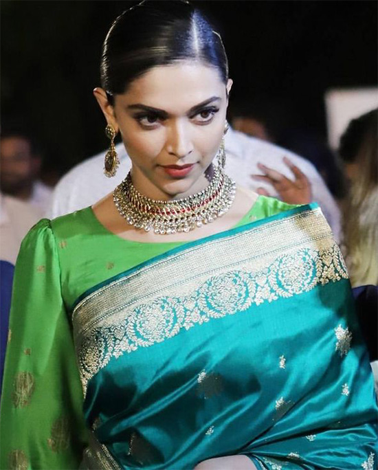 Deepika Padukone Green Saree Photos - Deepika Padukone Age