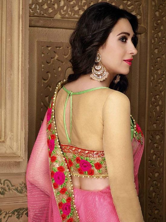 63321de064e9b Designer Party Wear Saree Blouse Designs In Pink With Beige Colour