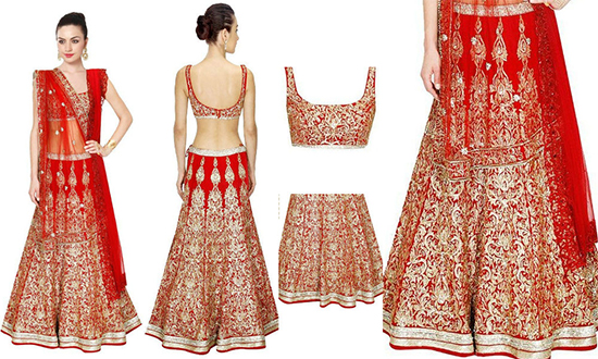 Designer Red & Gold Colour Heavy Embroidered Silk Lehenga Choli