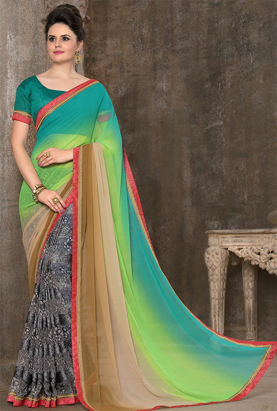 Dignified Print Work Multi Colour Printed Saree