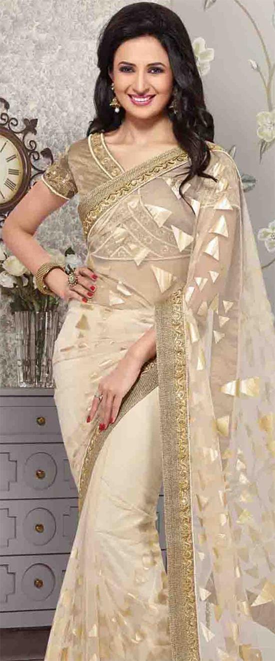 Divyanka Tripathi In Angelic Light Beige Net Saree