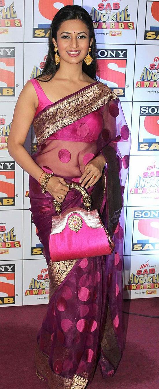 Divyanka Tripathi In Net Border Work Pink Saree