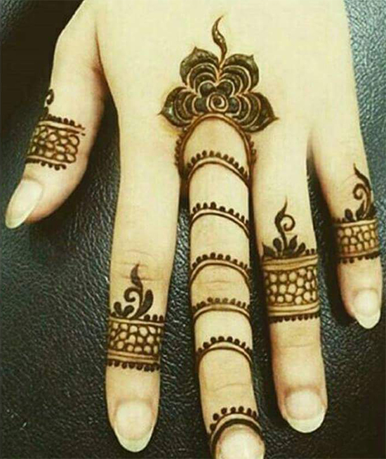 Finger Band Mehendi Design With a Touch Of Floral