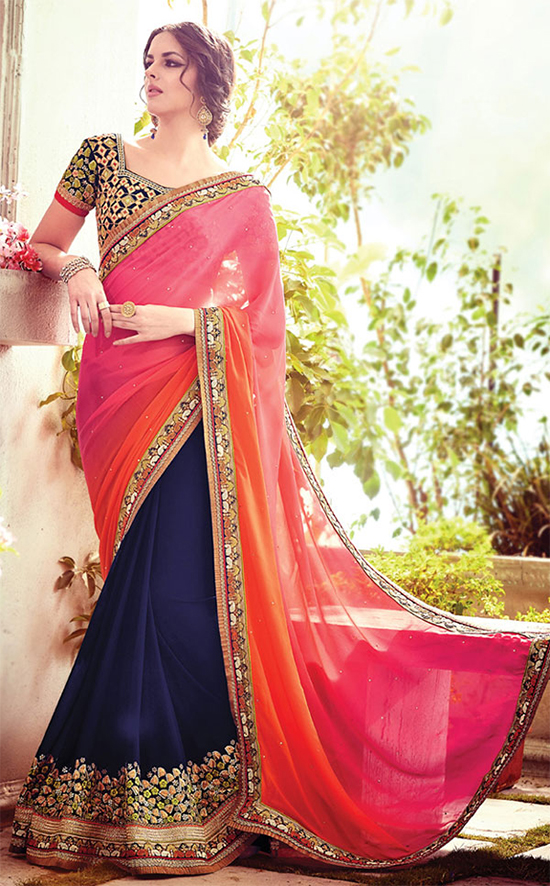 Georgette Navy Blue & Pink Designer Saree