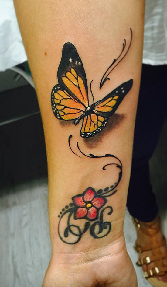 Gorgeous Attractive Butterfly Tattoo On Wrist