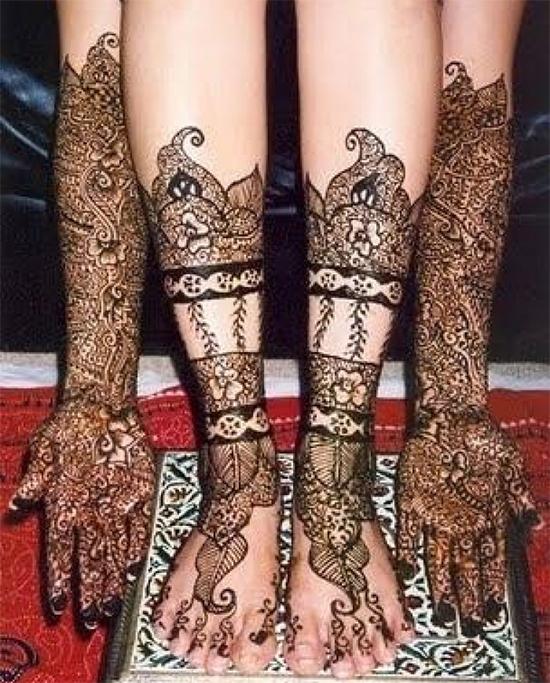 Hair Style Mehendi Design For Legs & Hands