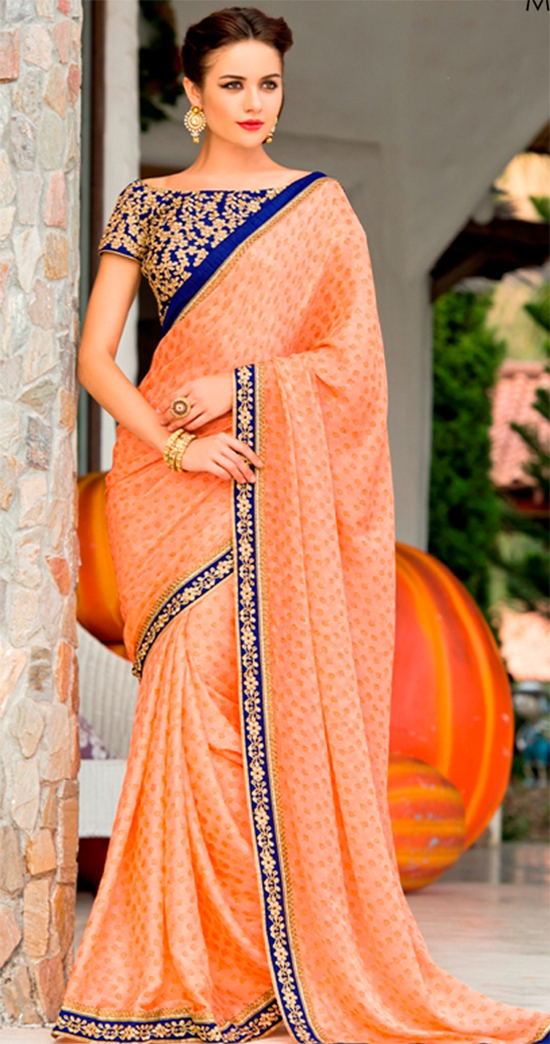 0936ad65d1966 Haute Chiffon Satin Peach Designer Saree With Off Shoulder Blouse  ...