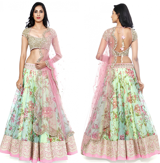 Kashmeera Green Lehenga With Pink Lace & Net Choli