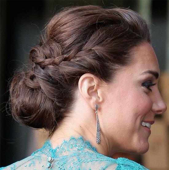Kate Middleton Long Brown Hair In Braided Chignon Updo