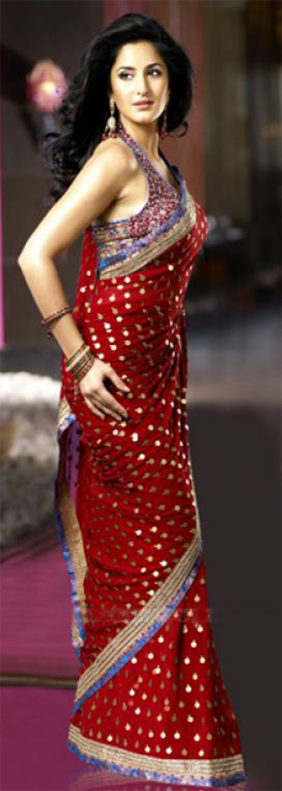 Katrina Kaif In Red Georgette Saree