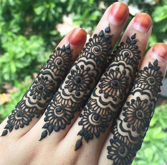 Latest Fingers Mehendi Black Design For Fingers