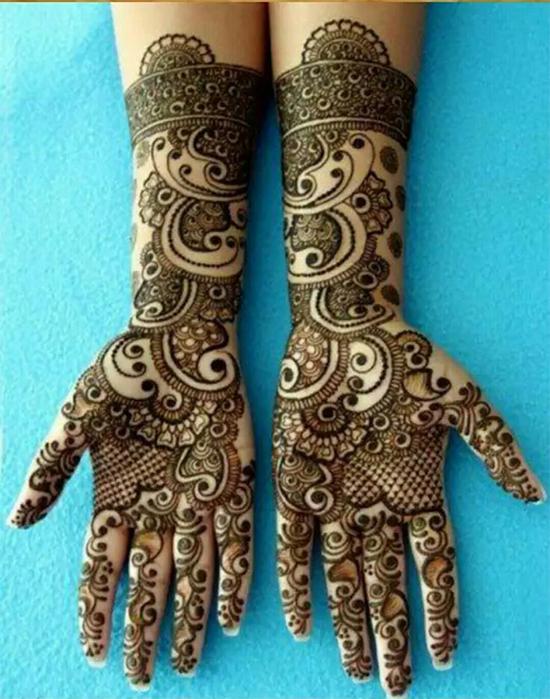 Latest Groom Marriage Mehendi Design For Full Hands