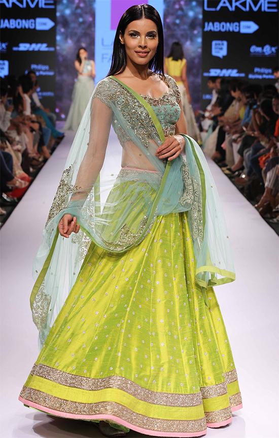 Lime Green & Turquoise Raw Silk Lehenga With Worked Net Choli