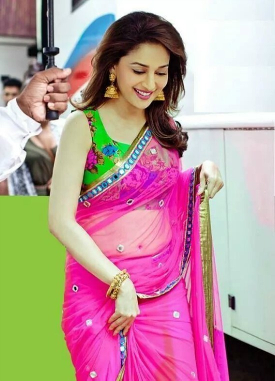 Madhuri Dixit In Green Floral Print Blouse