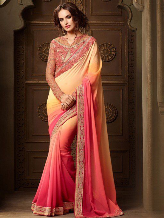 b15beede2f70f6 Magnetic Georgette Embroidered Designer Saree With Full Sleeve Blouse  ...