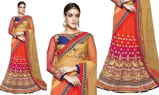 Multi Color Zari Embroidered Work Net Lehenga Choli With Full Sleeve Blouse