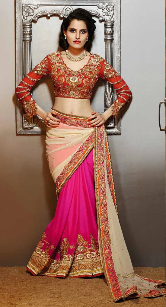 e13671cecc30b Mustard Cream   Pink Georgette Saree With Cur Work Heavy Embroidery Full  Sleeve Blouse
