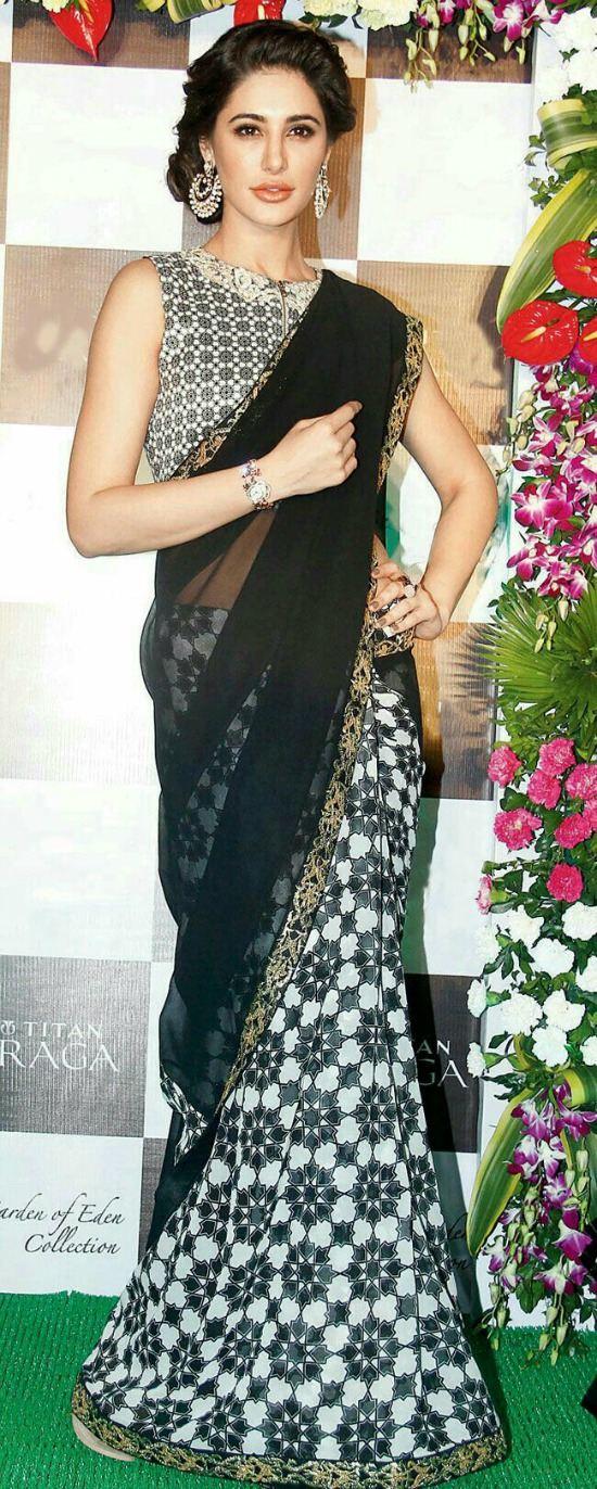 Nargis Fakhri In Black And White Design Front Gip Blouse