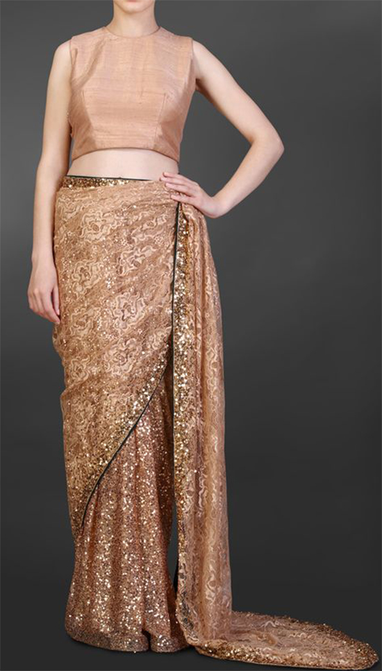 Top 20 trending chantilly lace saree designer collections nude chantilly lace saree with sequin detailing and green backing with a nude sleeveless blouse aloadofball Gallery