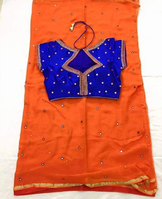 Ready Made Mirror Work Blouses And Neck Designs For Sarees