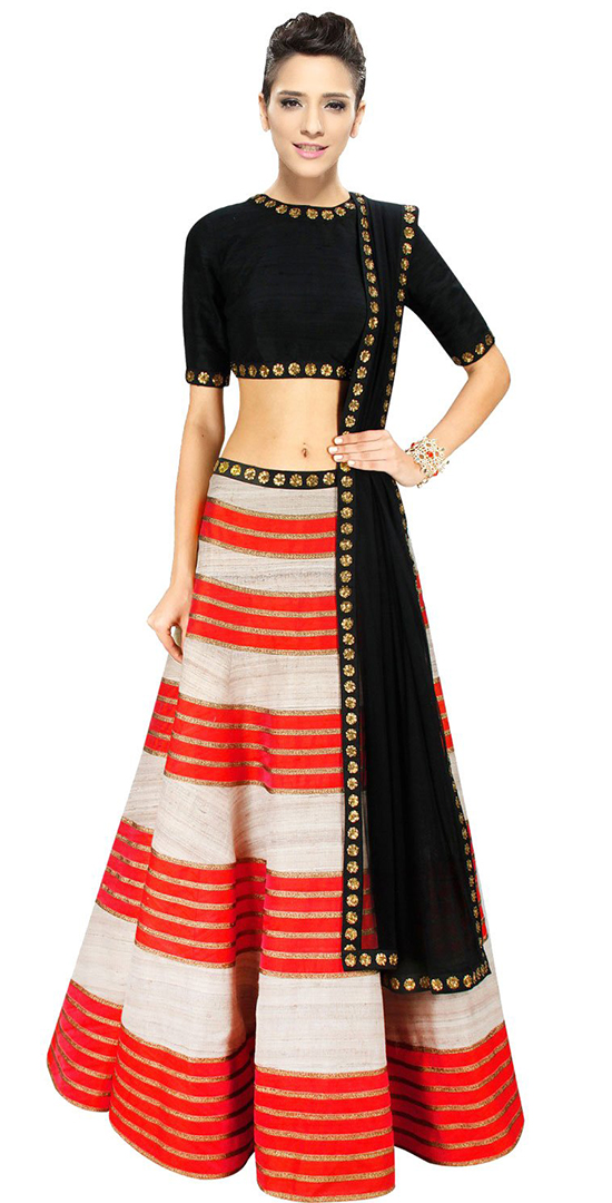 Orange & black Lehenga With Elegant Embellishment