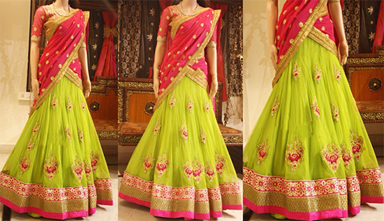 Parrot Green Netted Buttis Lehenga With Pink Work Blouse & Bordered Dupatta
