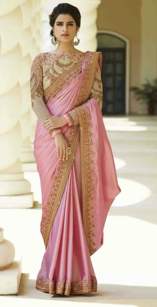 Party Wear Designer Sarees With Embroidered Work Blouses