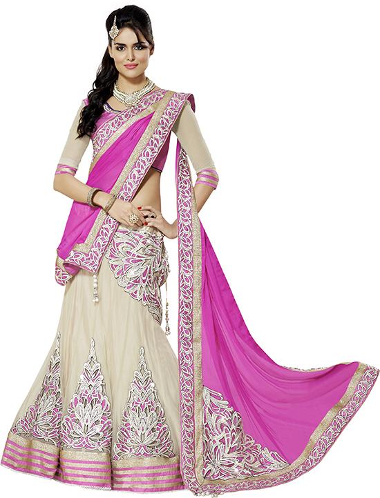 Pink & Off White Coloured Georgette & Net Embroidered Lehenga Choli