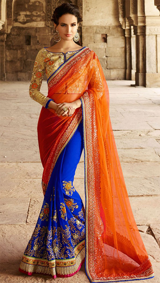 Reception Blue & Orange Pure Georgette Designer Bridal Saree