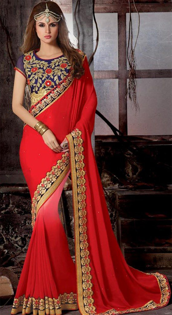 Red Colour Embroidered Georgette Saree