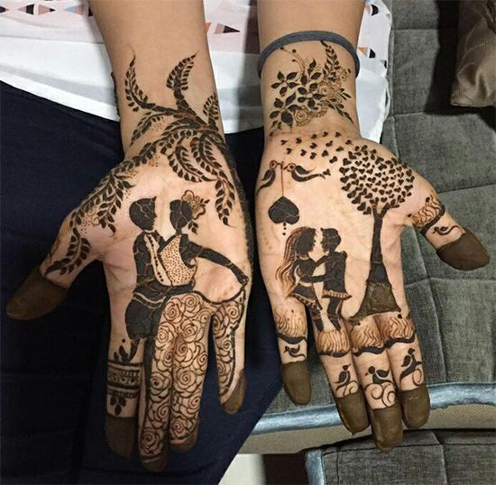 Romantic special mehandi design for couples