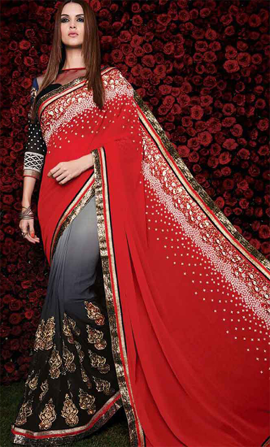 Royal Red & Grey Black Shaded Georgette Stone Work Party Wear Saree