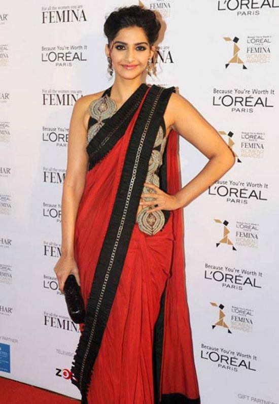 Sonam Kapoor In Long Jacket Style Designer Blouse