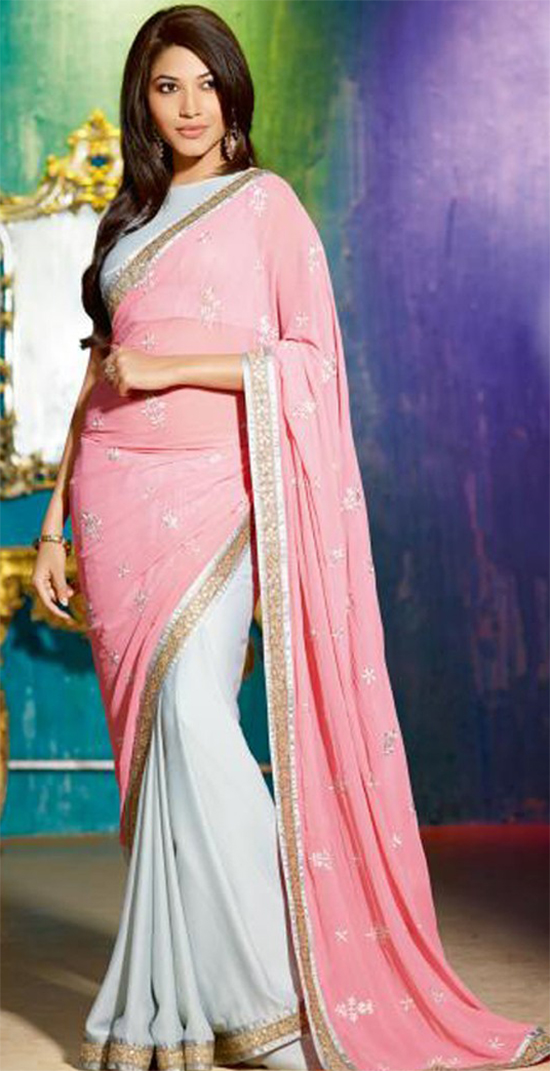 Sparkle Silk Georgette Pink & Grey Saree