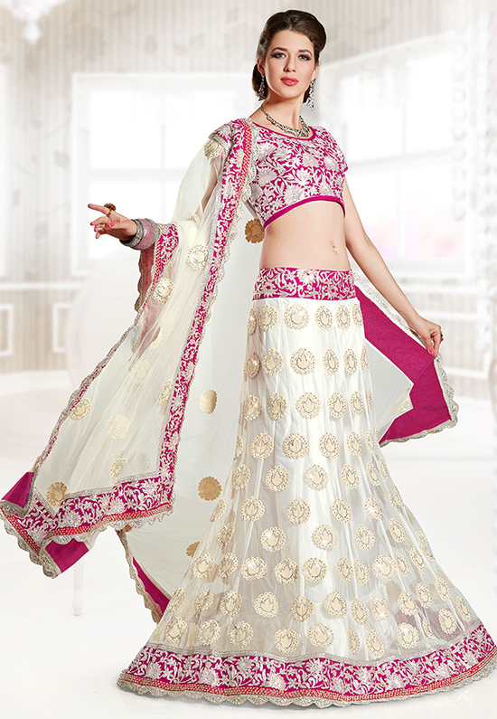 White Long Lehenga With Pink Embroidery Lace & Net Choli